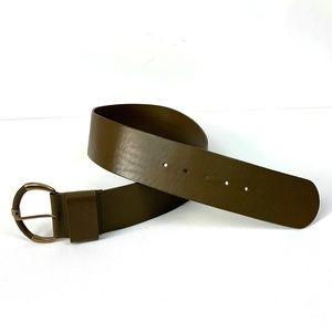 Talbots Leather Wide Dark Olive Belt Sz S